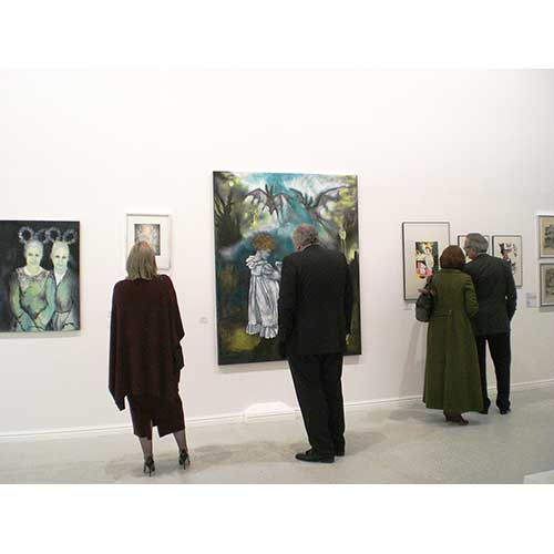 (left to right) paintings and prints by Therese Nortvedt, and Hjørdis Dreschel, 'The Landscape of Memory' NoFormat Gallery, 2012